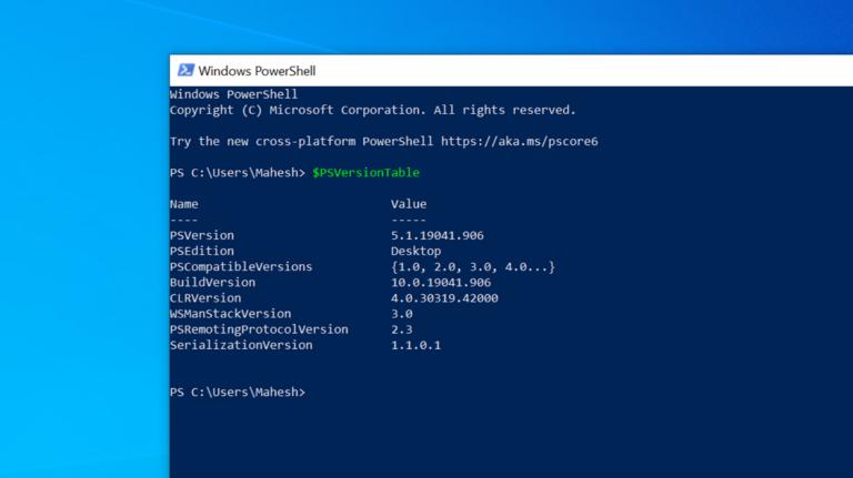 Как проверить версию PowerShell в Windows 10