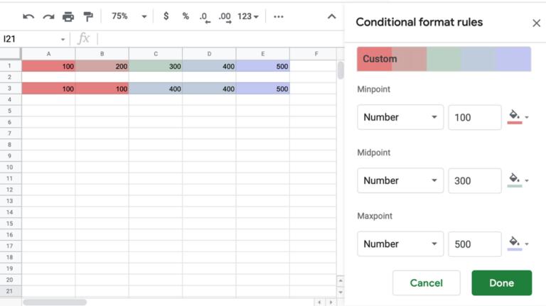 Как применить цветовую шкалу на основе значений в Google Таблицах