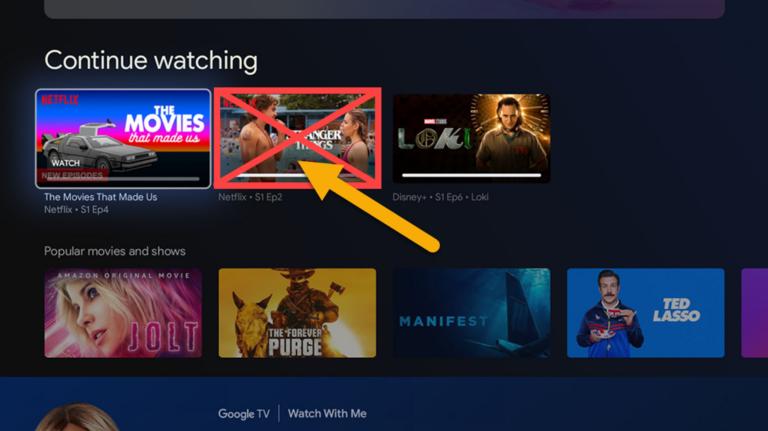 Как скрыть фильмы и телепередачи из Google TV Продолжить просмотр